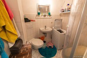 das Duschbad mit Platz für eine schmale Waschmaschine